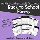 English and Spanish Open House Back to School Forms
