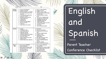 Parent Teacher Conference Checklist-English and Spanish