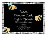 English and Spanish Picture Direction Cards-BEE/Black and Yellow