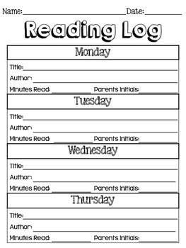 English and Spanish Reading Log Worksheet