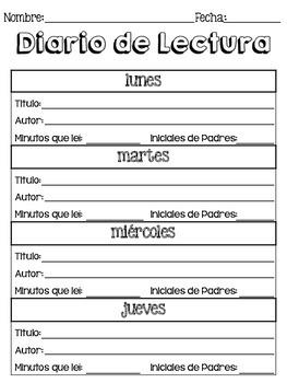 english and spanish reading log worksheet by kelly raver tpt. Black Bedroom Furniture Sets. Home Design Ideas
