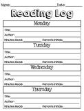 English and Spanish Reading Log Worksheet