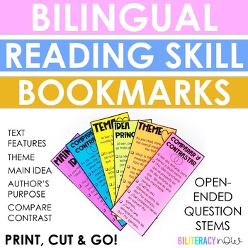 English & Spanish Bookmarks by Reading Skill:Theme, Main Idea, Inference, etc!