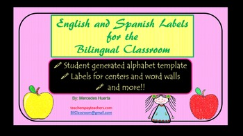 English and Spanish labels for the bilingual Classroom