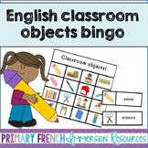 English classroom objects bingo