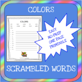 English colors scrambled words worksheet