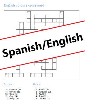 English colours: Crossword + Answer Key: Bilingual Spanish/English