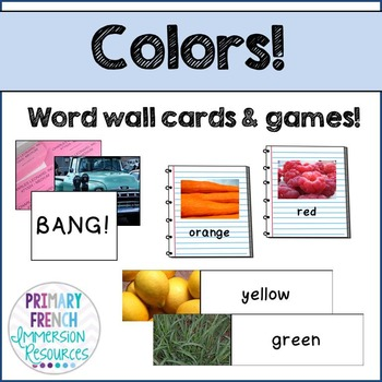 English colours  - word wall words and game cards