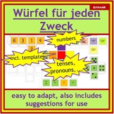 German dice templates: numbers, text, coloured die + blank formatted templates