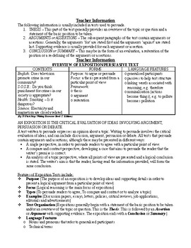 English exposition persuasive text type unit plan for a whole term