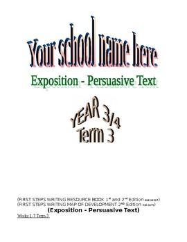 English exposition persuasive text type unit plan for a wh
