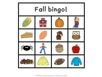 English fall bingo game