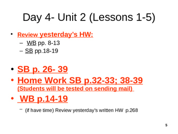 English in 24 days (ESL2 class) Unit 2