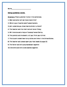 English lesson- Using Quotation marks