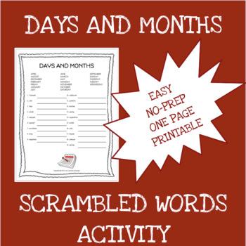 English months and days scrambled words worksheet - ELA - ESL - ELL