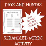 English months and days scrambled words worksheet - ELA -