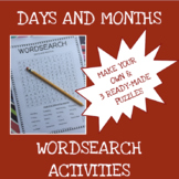 English months and days word search activities - ELA - ESL - ELL
