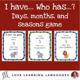 English months, days, and seasons game - I have...Who has?