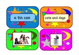 English phonics . Matching picture cards game with phase 2 captions .
