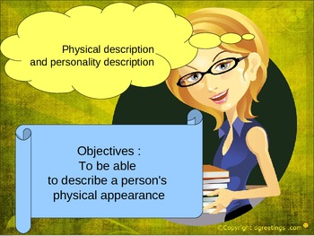 English physical and personality description for ESL, EAL