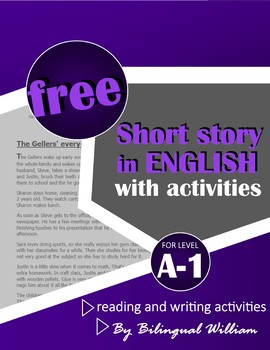English reading and writing activity (every day vocabulary and 3rd person)