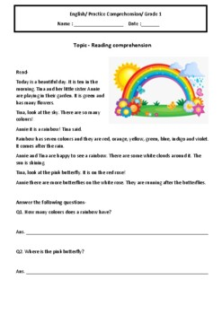 English reading comprehension worksheets grade 1 by Charu ...