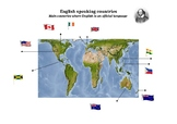 English speaking countries - Map using the Gall-Peters projection