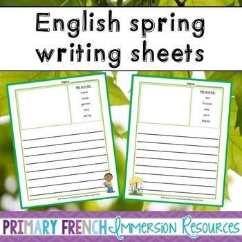 English spring vocabulary writing