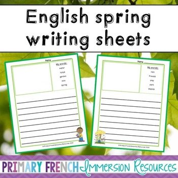 English spring vocabulary writing