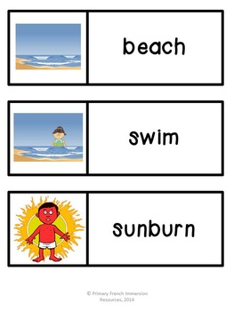 English summer flashcards, word wall cards, and centre games