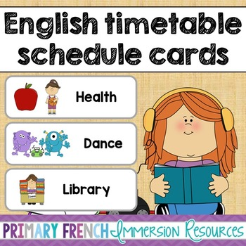 English timetable schedule cards