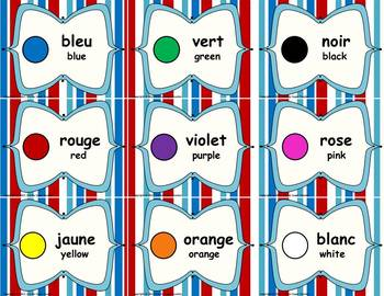 Dual Language - English to French Labels: Red, White, and Blue