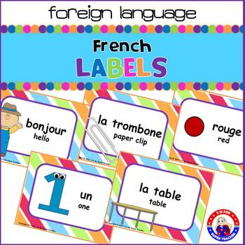 Dual Language - English to French Labels: Striped