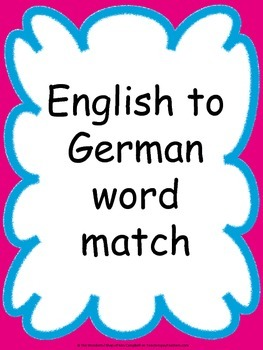 English to German Word Match