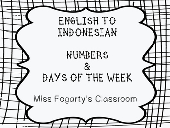 English to Indonesian - numbers and days of the week