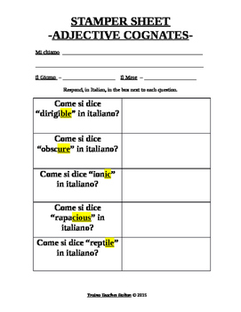 Italian Made Simple: English to Italian Adjective Cognates Activity Sheet