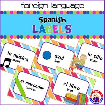 English to Spanish Classroom Labels:Stripped