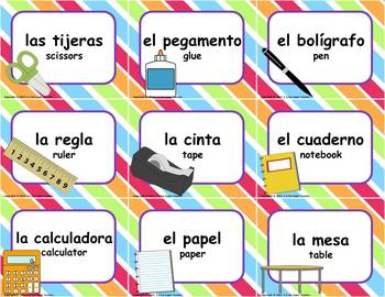 Dual Language - English to Spanish Classroom Labels: Striped