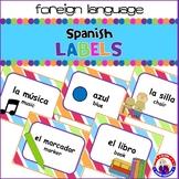 Dual Language - English to Spanish Classroom Labels: Striped