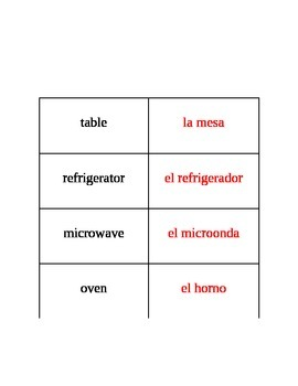 English to Spanish Household Labels