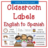 Classroom Labels English to Spanish (with white background)