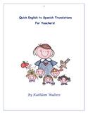 English to Spanish Translations for Teachers
