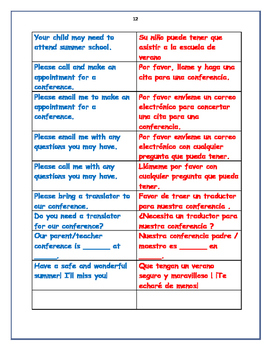 English to Spanish Translations for Teachers