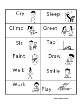 English verb charade flashcards with pictures/actions