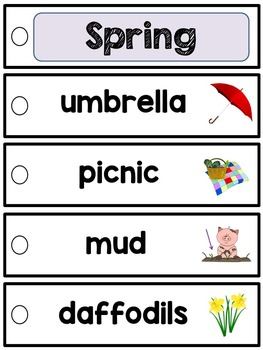 English word wall strips - Seasons & Celebrations