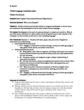 English/ESL Lesson on Doublespeak