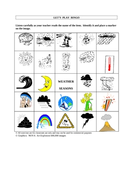 English/ESL Weather Picture Bingo and Hidden Word Puzzle