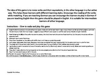 English/German Verbs domino game