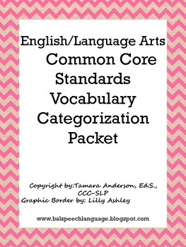 English/Language Arts Common Core Standards Vocabulary Cat
