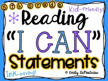 Reading I Can Statements (Fifth Grade, Common Core)